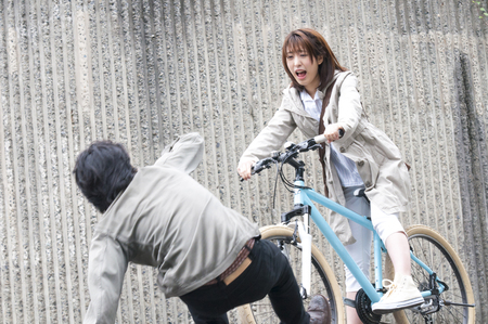 Women who fit a bicycle accident