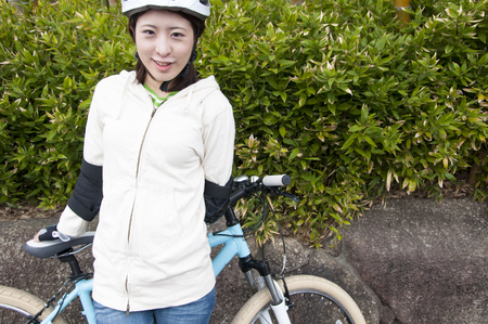 protector: Woman wearing a bicycle protector