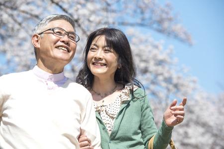 桜の花の下を歩くシニア カップル 写真素材