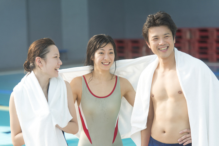 sports club: Men and women chatting after swimming