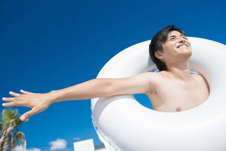 frolic: Men who frolic with a float