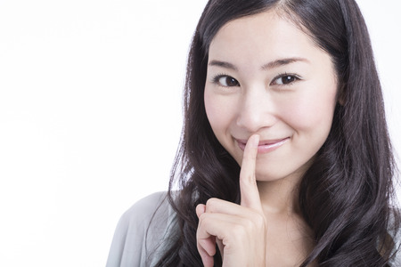 quietly: Women who devote finger in mouth