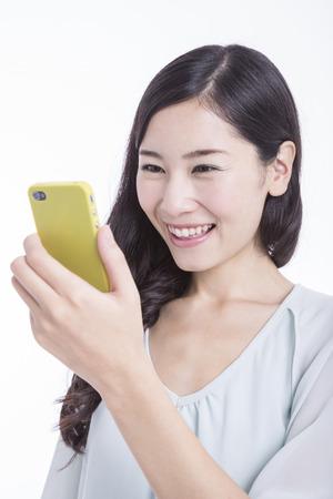 Women touch Smartphone