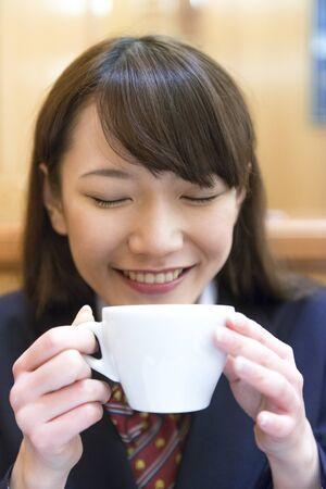cafe au lait: High school girls drinking Cafe au lait