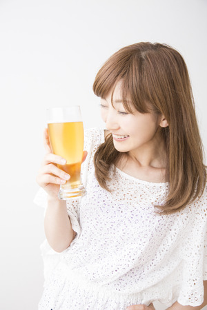 Beer drinking woman