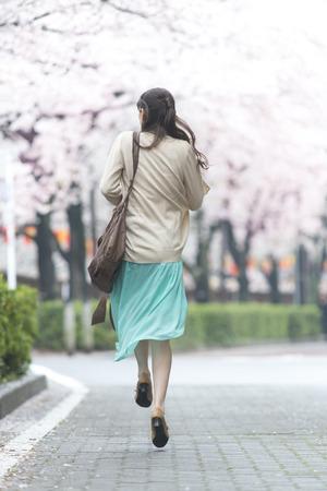 rear view: Cherry Blossom walking tree man rear view