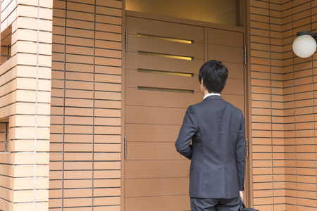 rear view: Rear view of a businessman Stock Photo