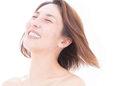 waver: Smiling woman Stock Photo