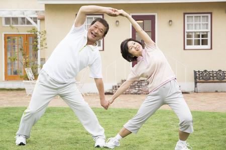 Senior couple of gymnastics