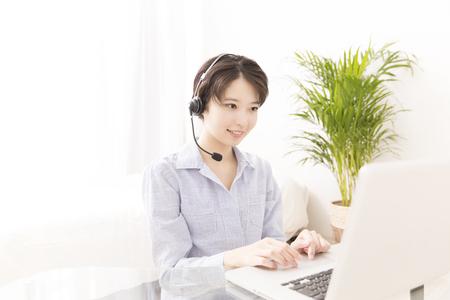 ビデオ チャットの女性 写真素材