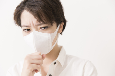 agonizing: Female wearing masker