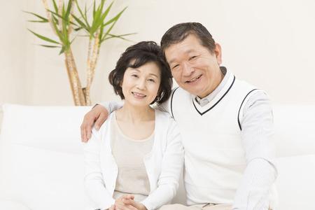 old age home: Smiling senior couple Stock Photo