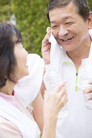 the elderly residence: Smiling senior couple Stock Photo