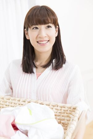 japanese people: Women with the laundry