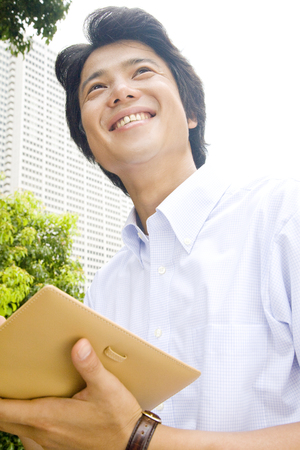 short sleeved: Businessmen to see schedule Stock Photo