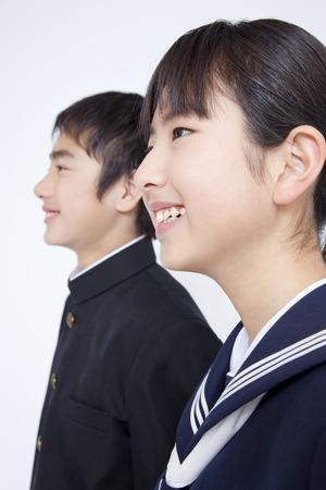 school teens: Smile of junior high school students men and women Stock Photo