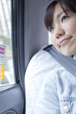 look out: College students to look out from the car of taxi