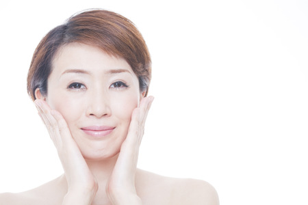 healing with sound: Middle woman smiling hand to rely on the cheek