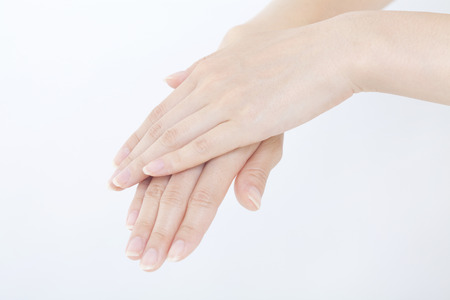 Hand of women who apply the cream in hand