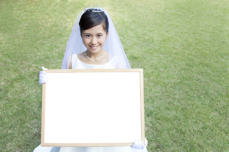 message board: The smile has a message board bride Stock Photo