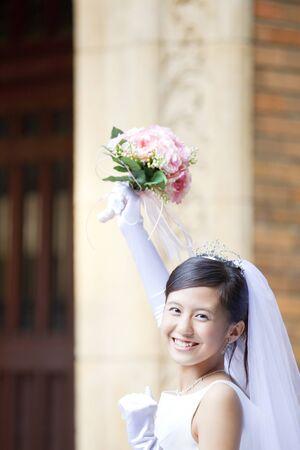 rejoice: Bride to rejoice by raising the bouquet