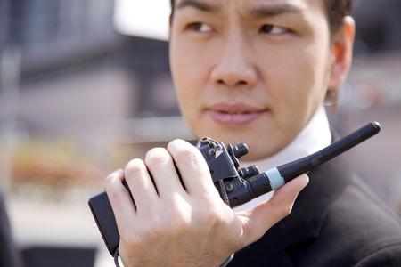 transceiver: Businessman to talk with transceiver