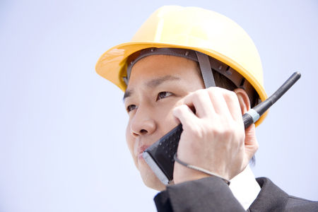 transceiver: Businessman to talk with transceiver