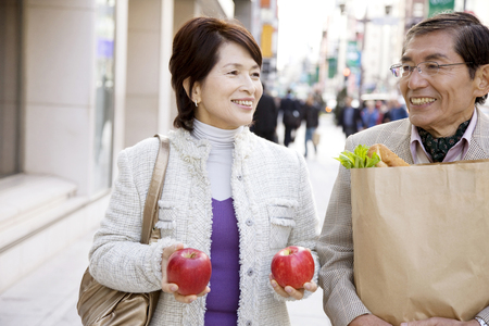 Couple with a shopping in the city