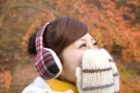 earmuff: Female portrait Stock Photo