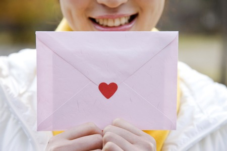Women who have a letter Stock Photo