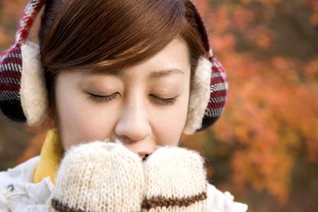 fall winter: Female portrait Stock Photo