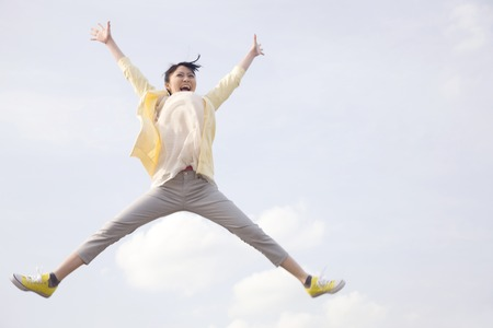 Jump to women Stock Photo