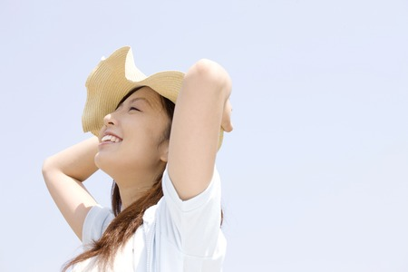 Woman wearing a hat Stock Photo