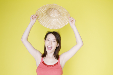 straw the hat: Women with Straw Hat
