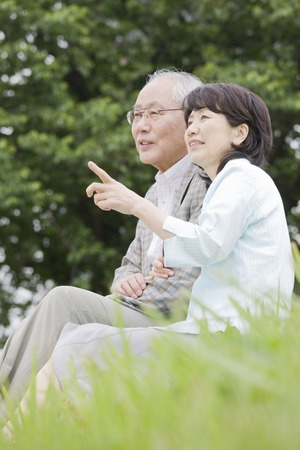 Elderly couple to the conversation while sitting on the lawn of the park