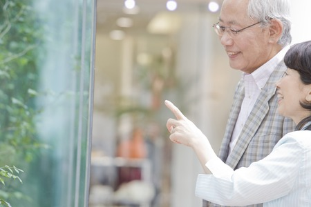 Elderly couple to enjoy the window shopping