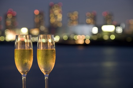 Champagne and night view Stock Photo