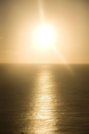 SEA  LANDSCAPE: Sea light of dusk in the sun is reflected Stock Photo