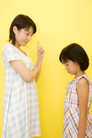 angry women: Daughter to be scolded by mother