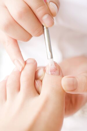 nailcare: Women have to nail pedicure