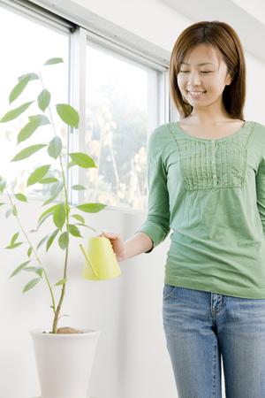estrange: And estrange people woman to plant Stock Photo