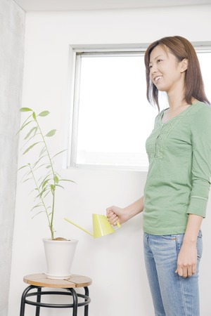 to be pleasant: And estrange people woman to plant Stock Photo