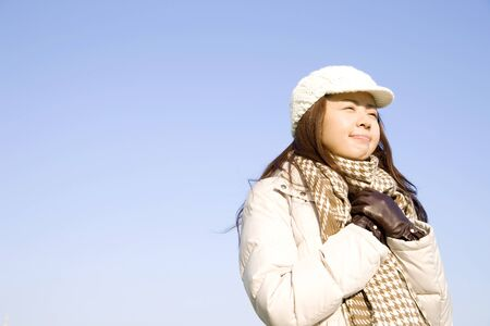 living beings: The woman you have cold likely Stock Photo