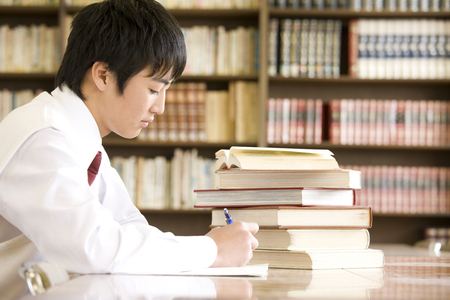 Mens junior high school students to study in the library