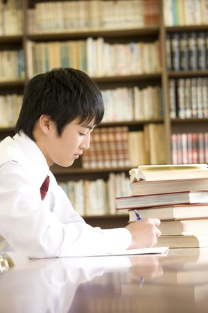 junior: Mens junior high school students to study in the library