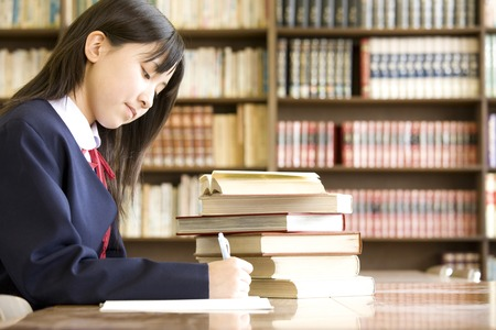 Womens junior high school students to study in the library