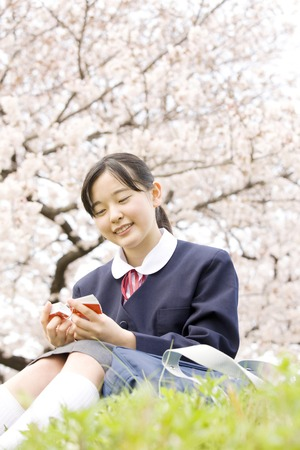 junior high: Womens junior high school students Stock Photo