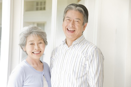 asian old man: An elderly couple have to laugh Stock Photo