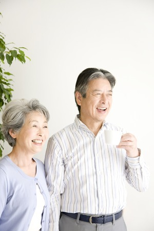 pleasant emotions: An elderly couple have to laugh Stock Photo