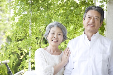 welcome smile: Senior couple laughing Stock Photo